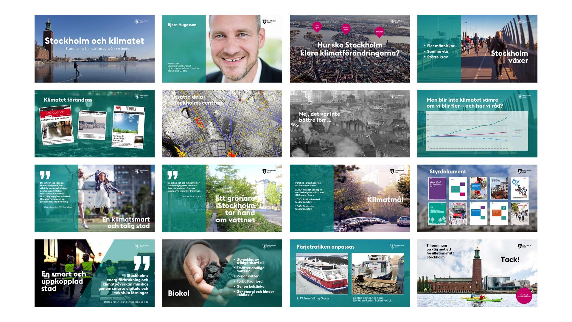 16 bilder ur Stadsledningskontorets Powerpoint