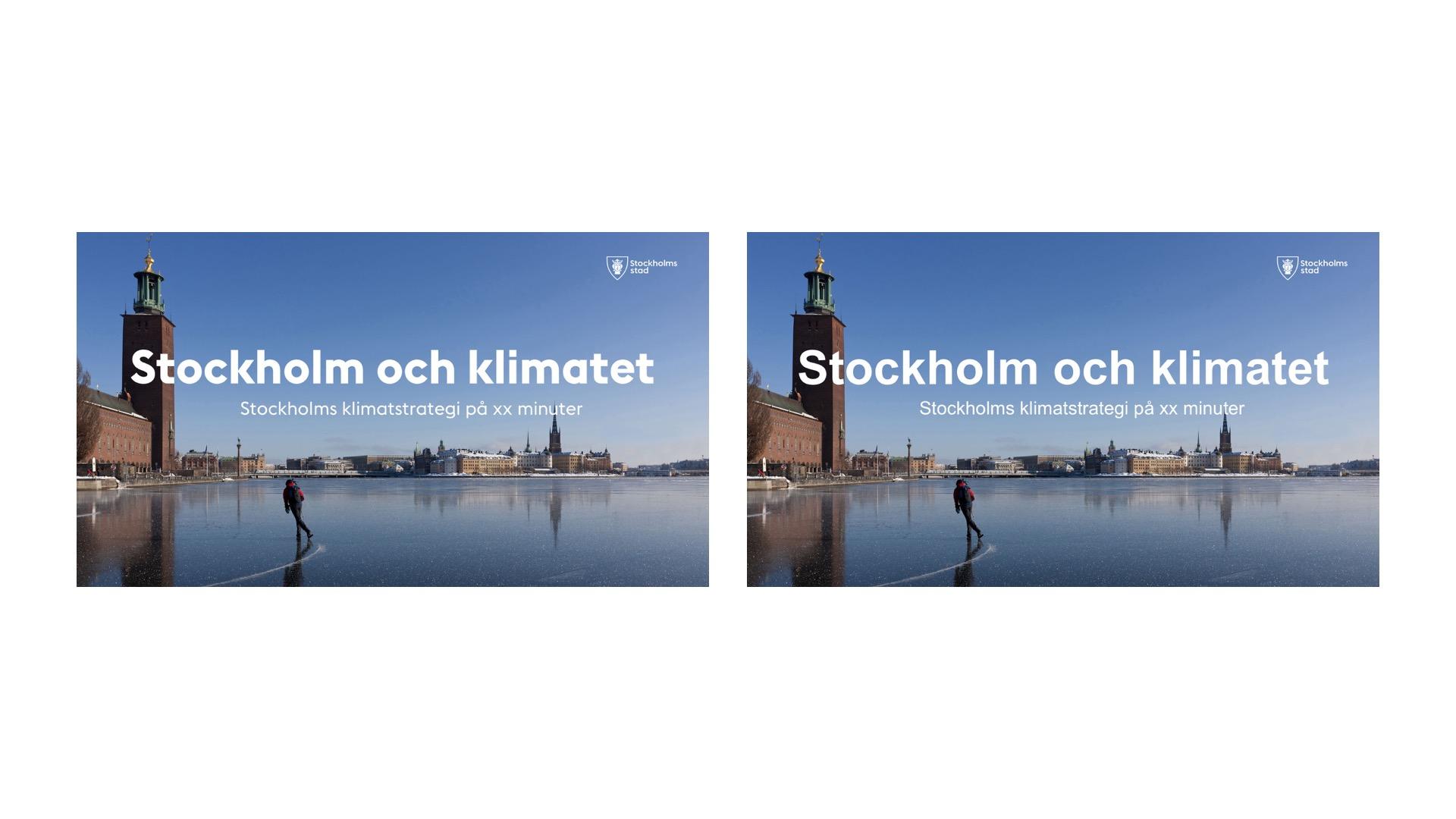 Två bilder som visar presentationens förstasida i två olika typsnitt