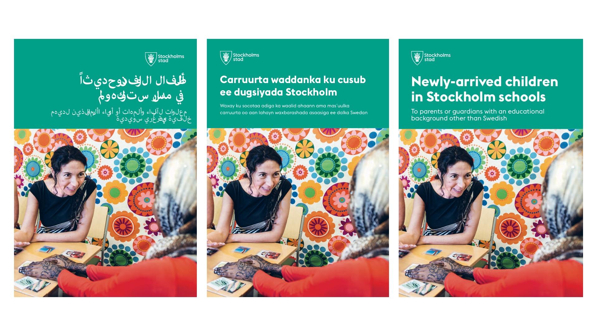 Utbildningsförvaltningens broschyr till nyanlända finns på sammanlagt fem språk